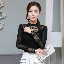 Women Lace T-Shirt Stand Collar Long Sleeve Grenadine Thin Pullover Blouse Black