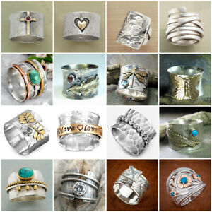 Boho Handmade 925 Silver Spinner Wide Band Turquoise Gems Ring Jewelry for Women