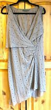 Mint Velvet asymmetrical embroidered taupe silk chiffon dress & slip set 12 UK