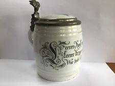 Antique Porcelain Lidded German Beer Stein w/Lithophane Image on bottom-1890's?
