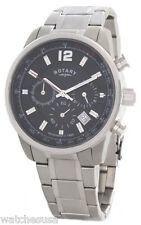 Rotary Mens Black Dial Stainless Steel Bracelet Chronograph Watch GB00421/04