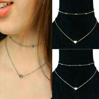 Women Heart Pendant Necklace Double Layers Chain  Choker Jewelry Simple Gift