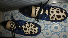 Creeper Bronx Shoes Blue Suede & Pony Hair Dalmation Print  Size UK 3,36 RRP £70