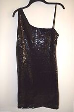 Rampage Juniors Womens Sexy Black OFF One Shoulder Mini Sequin Dress Zip 13 Med