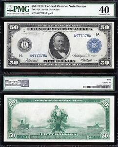 Amazing Crisp HIGH GRADE 1914 $50 BOSTON FRN Note! PMG 40! FREE SHIPPING! 77278