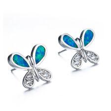 Beauty Butterfly Blue  Fire Opal White Topaz Gems Silver Stud Hook Earrings Gift