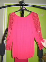 Red woman top in size 18 with tull and chifon sleeves. 83