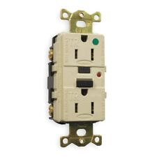 Hubbell 15A Hospital Grade Receptacle, Ivory; Tamper Resistant GFR8200ITR