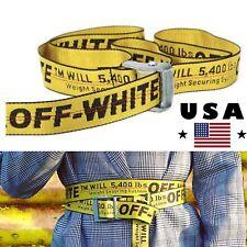 2018 Off White Tie Down Yellow Nylon Cotton Big IRON Head Industrial Belt Hot