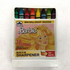 1989 Barbie Set of 16 Crayons Plastic Case Built In Sharpener Collectible New