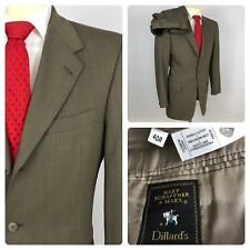 HART SCHAFFNER MARX 40R Two Piece Suit Brown Textured Wool W34 L28 Pants USA