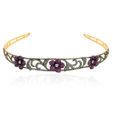 Ruby Tsavorite Diamond Sterling Silver Designer Hair Band Jewelry