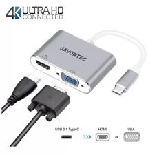 USB C to VGA HDMI Adapter, JAVONTEC USB 3.1 Type C to VGA and HDMI Converter, C