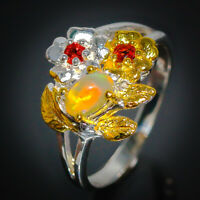 Silver Ring 18k Gold Plated Natural Opal Garnet 925 Sterling  / RVS128