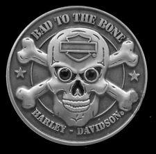 "HARLEY DAVIDSON Rhinestone 3D Skull ""Bad to the Bone HARLEY  PIN"