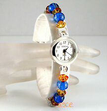 Geneva Silver Plated Deco Victorian Amber & Blue Ladies Slim Dress Wrist Watch