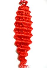 Haarverlaengerung Remy Echthaar gelockt 50cm Keratinbonding Strähnen Haare ROT