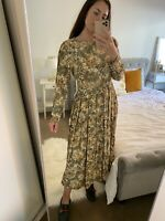 90s Vintage Size 12 Floral Long Sleeve Maxi Dress Oversized Cute Button Detail