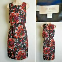 Hobbs London Black Floral Sleeveless Overlay Red Occasion Dress size 10