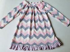 Girls BONNIE JEAN chevron sweater dress 6 pink gray ivory sparkle ruffle flower