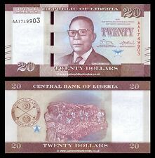 Liberia 20 dólares 2016 primera prefijo 'AA' P-Nuevo Nuevo Diseño UNC