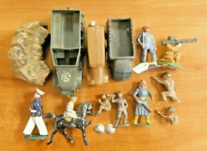 Vintage Mix Lot of Soldiers and Vehicles Lead and Plastic