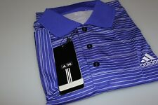 Adidas Performance Golf Polo Shirt Blue Bonnet (Purple) White Stripe Large New