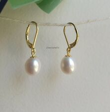 Genuine  9-10mm drop freshwater pearl in sterling silver dangle  earrings golden