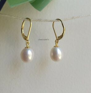 Genuine  9-10mm drop freshwater pearl in sterling silver dangle  earrings golden