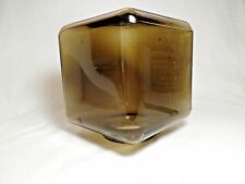 Vintage Amber/Smoke Glass Cube Light Shade