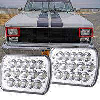 "2PC 7X6"" Housing Diamond Cut Lamp Upgrade Chrome H6054 Conversion LED Headlights"