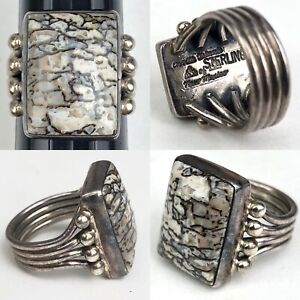 Orville Tsinnie Of New Mexico Navajo Sterling Silver Ring 7 1/4 Gemstone Fossil