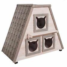 Outdoor Weatherproof Madeira Cat House Cats Home Wooden Pet Kitten Den Pets Bed