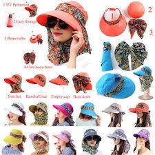 Sun Visor Hats For Women New Neck Flap Wide Brim UV Protection Packable Cap 2a048e6cffd