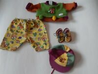 """Vintage 1990's Zapf Creations baby doll squirrel print outfit for 17"""" doll"""