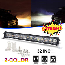 32Inch 12D Triple-Row Dual Color LED Light Bar Strobe Combo Beam 4WD Offroad UTV