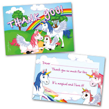10 Kids Thank You Cards Unicorns and Rainbows Themed and 10 Envelopes