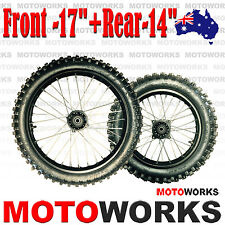 "70/100 - 17"" + 90/100 - 14"" Inch Front Rear Back Wheel PIT PRO Trail Dirt Bike"