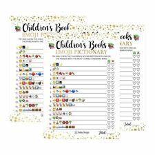 25 Emoji Children's Books Pictionary Baby Shower Game Party Ideas For Quiz...