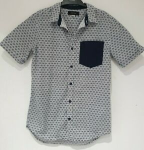 BOYS SMART SUMMER SHIRT, IN NAVY BLUE/WHITE, BY RIVER ISLAND, AGE 12 YEARS, VGC