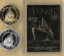 RMS TITANIC APRIL 10-15, 1912 23 KT CARD GOLD & SILVER  COINS