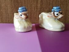 2 VTG Miniature Occupied Japan Figurine Lusterware Mouse in Shoe Planters