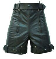Mens Chastity Bondage Shorts Real Black Leather Locking REAR ZIP