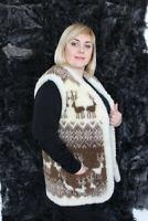 NATURAL WOMEN'S TWO-SIDED SHEEPSKIN SHEEP WOOL VEST JACKET BOLERO DEER S-6XL