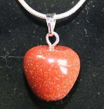 Gold Sun Sitara Goldstone Crystal Apple Fruit Pendant Reiki Blessed + gift bag