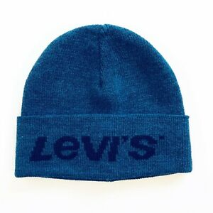 Levis Blue Winter Beanie Hat with Black Lettering Mens One Size Made in Italy