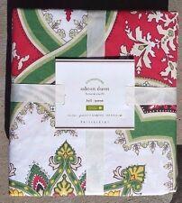 Pottery Barn ~ Organic Cotton Ashton Red / Green Multi Full / Queen Duvet Cover