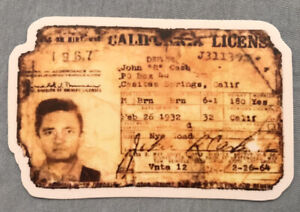 JOHNNY CASH VINYL Decal/Sticker 1964 Issue CALIFORNIA DRIVER'S LICENSE *UNIQUE*