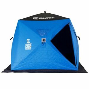 CLAM C-560 Portable 7.5 Ft 4 Person Pop Up Ice Fishing Thermal Hub Shelter Tent