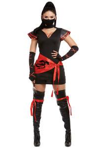 Womens black masked Ninja assassin dress costume set